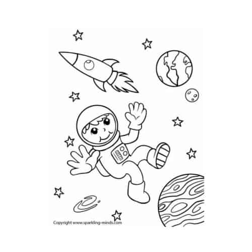 Astronaut in outer space coloring page for kids