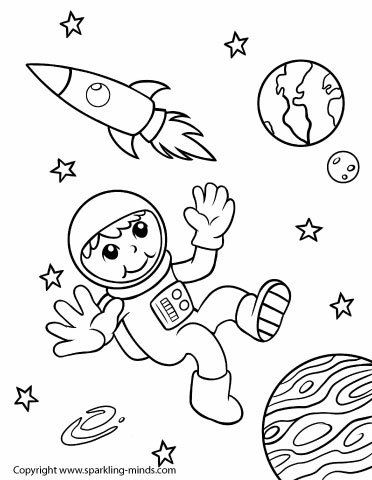 Astronaut in Outer Space Coloring Page - Sparkling Minds