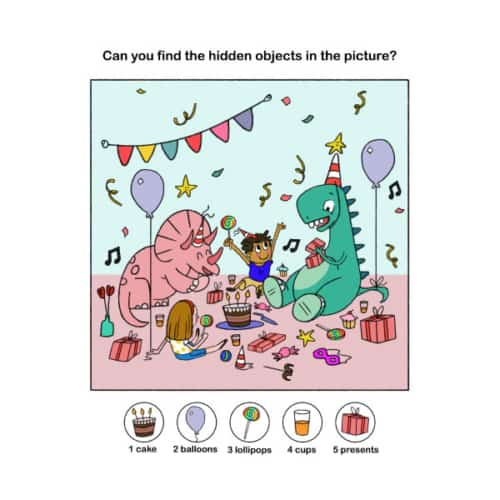 hidden picture worksheet for kids featuring dinosaur's birthday party