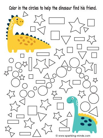 Preschool and kindergarten worksheets where children are expected to color in the circles to help a dinosaur find his friend.