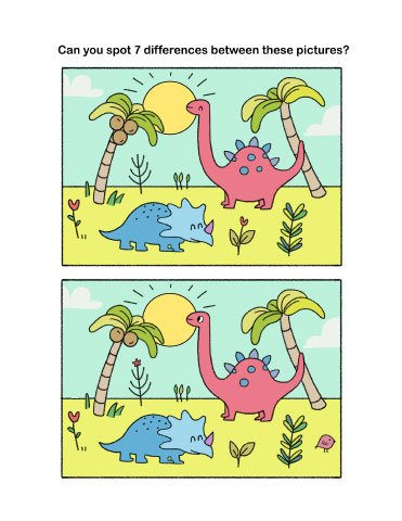 Spot the differences worksheet with dinosaurs for preschool and kindergarten kids.