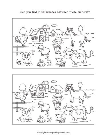 spot the differences worksheet for kids featuring farm animals