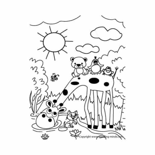 Animals coloring page for kids