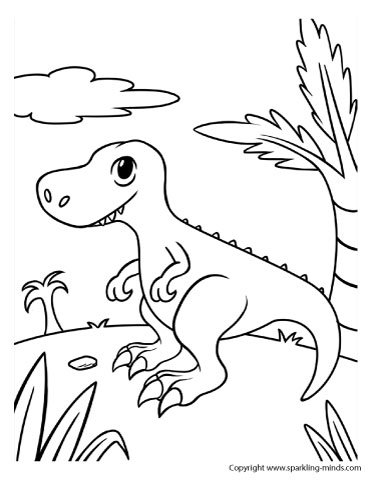 Dinosaur T rex coloring page for kids