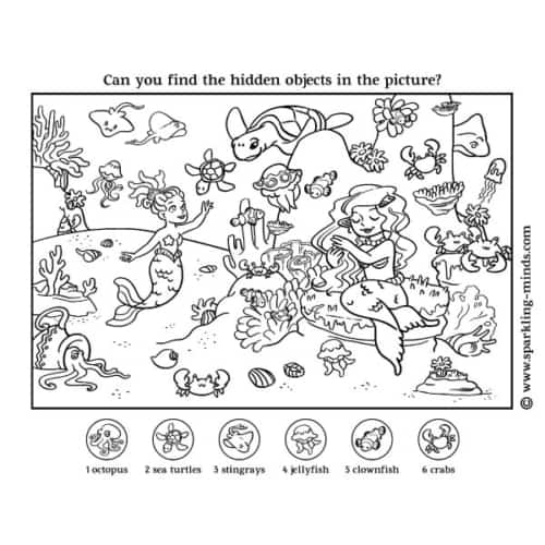 hidden picture worksheet for kids featuring mermaids under the sea
