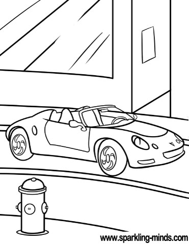 Coloring page with a modern car