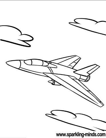 Coloring page featuring a modern plane