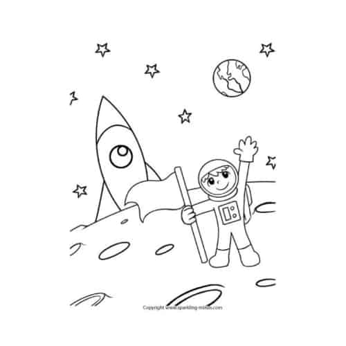 Coloring page for kids astronaut moon landing.