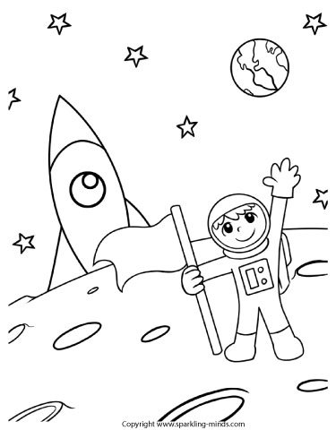 Coloring page for kids moon landing.