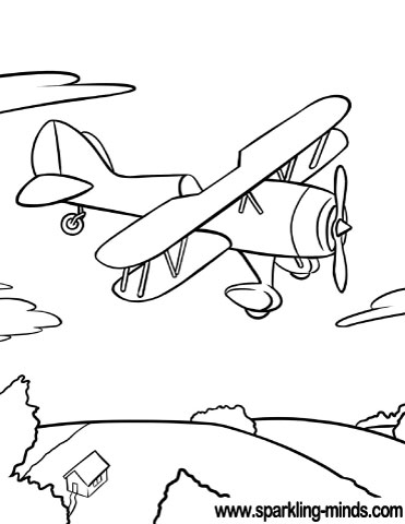 Coloring page featuring an old plane