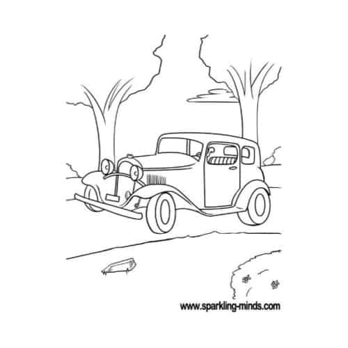 Coloring page with a car from the beginning of the 20th century