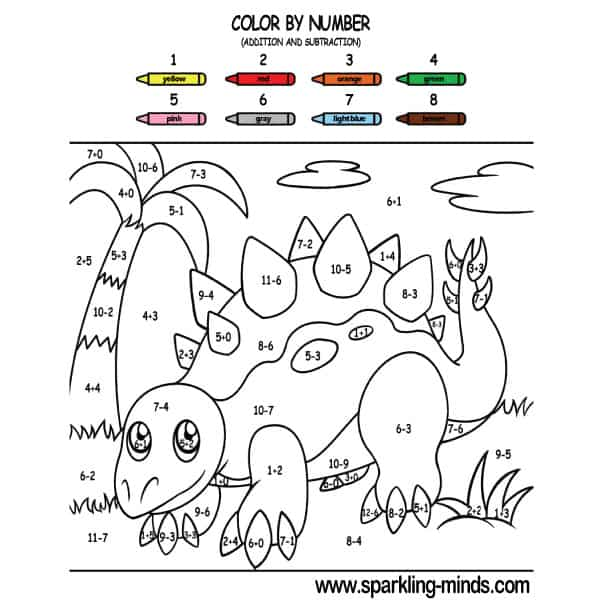 Color by number worksheet (addition and subtraction) featuring a dinosaur