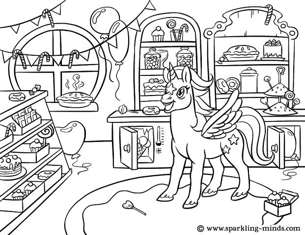 Coloring page for kids featuring a unicorn in a candy shop