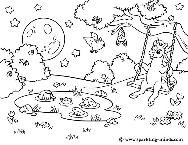 Coloring page for kids featuring a unicorn on a swing