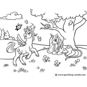 Coloring page for kids featuring unicorns playing in the meadow