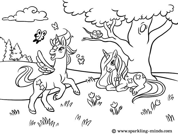 Coloring page for kids featuring unicorns playing in the countryside