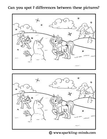 Spot the difference worksheet for kids, representing a Unicorn playing in the snow with a Snowunicorn