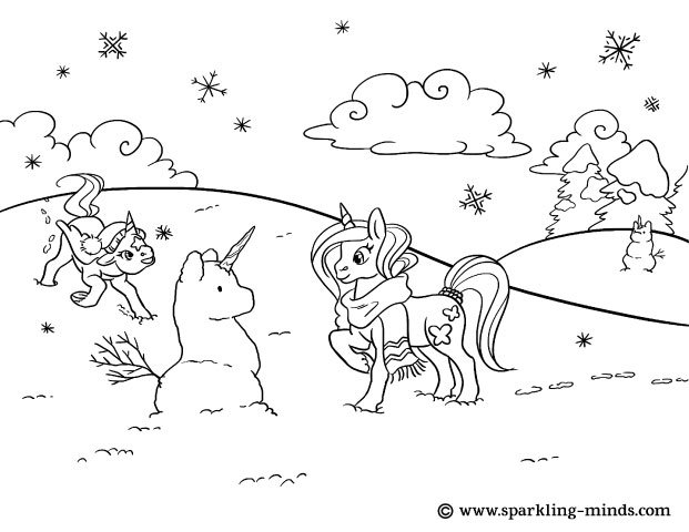 Coloring page for kids, representing unicorns playing in the snow with a Snowunicorn