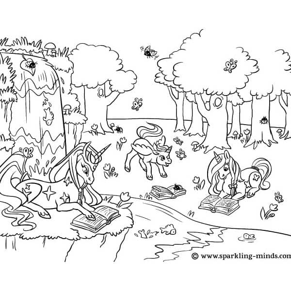 Coloring page for kids featuring unicorns reading in the woods