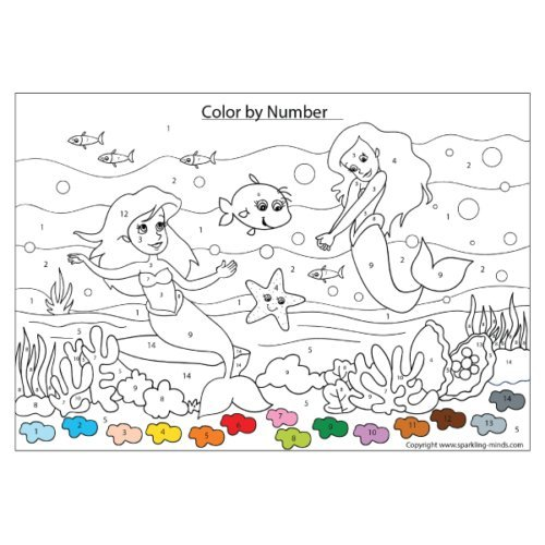 mermaids color by number worksheet
