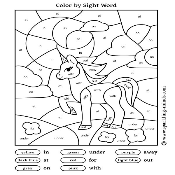 Color by sight word worksheet for preschool and kindergarten featuring a cute unicorn.