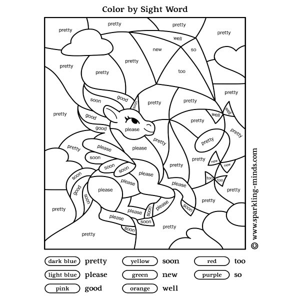 Color by sight word worksheet for kids featuring a unicorn and a kite