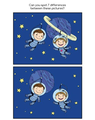 spot the difference worksheet with astronauts for kids