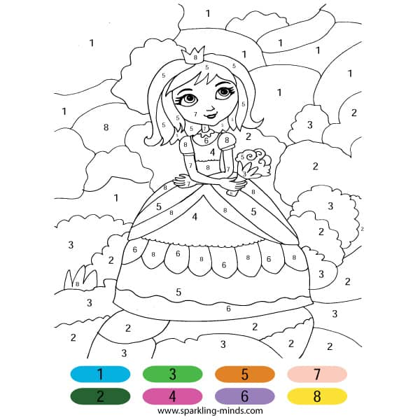 Princess Color by Number math coloring page