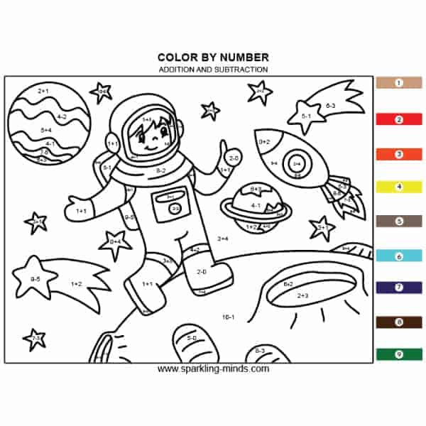 Astronaut Color by Addition and Subtraction math coloring page