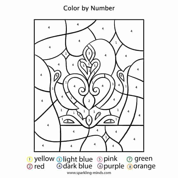 Crown Jewels Color by Number math coloring Worksheet