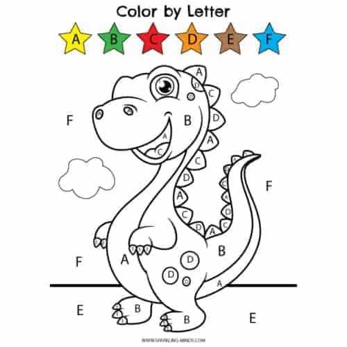 dinosaur color by letter worksheet for kids