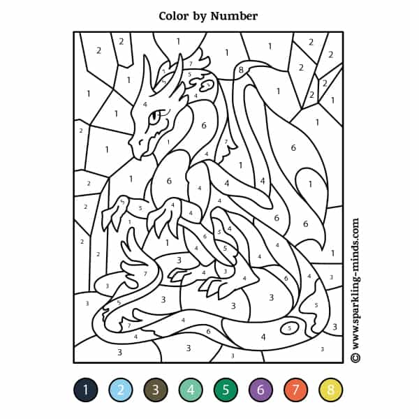 Dragon Color by Number math coloring Worksheet
