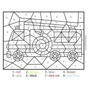 Fire Truck Color by Number Worksheet