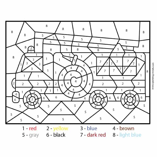 Fire Truck Color by Number math coloring page