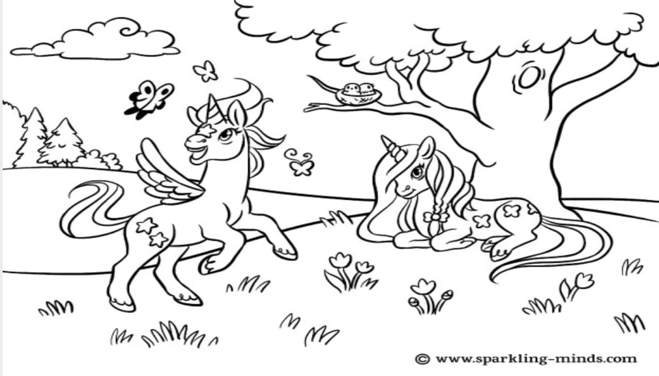 unique and free unicorn coloring pages - sparkling minds
