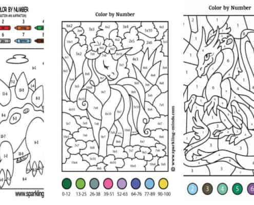 image with three color by number pages for kids featuring unicorn dragon and dinosaur