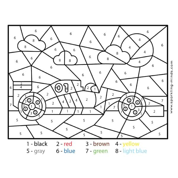 Race Car Color by Number math coloring Worksheet