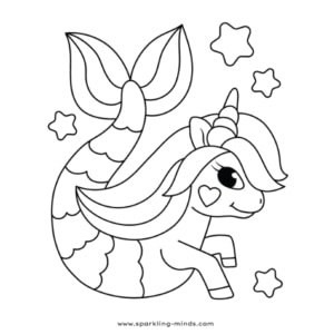 Mermaid unicorn coloring page