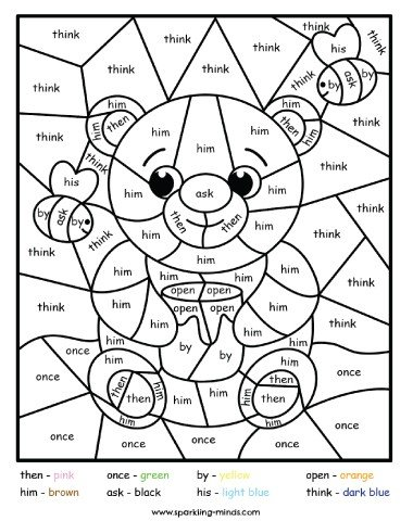 bear color by sight word