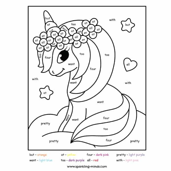 cute unicorn color by sight word worksheet