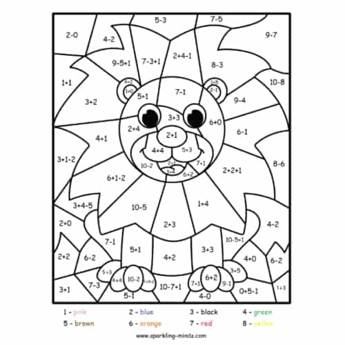 lion color by number (addition and subtraction) worksheet