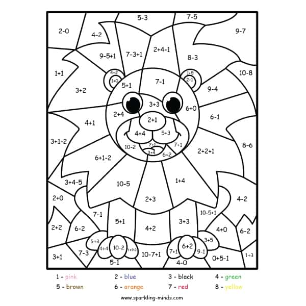 lion color by number (addition and subtraction) math coloring worksheet
