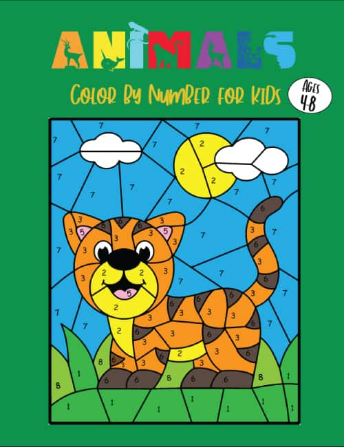 animals color by number cover