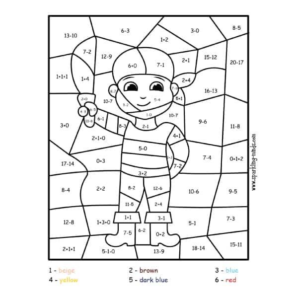 pirate color by number addition and subtraction math coloring page