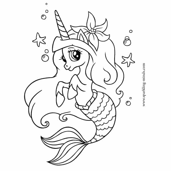 CUTE UNICORN MERMAID Coloring Page - Sparkling Minds