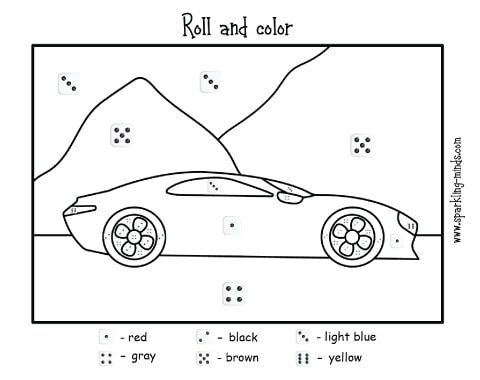 car roll and color math worksheet