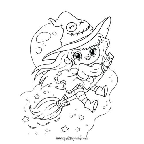 cute witch coloring page for kids
