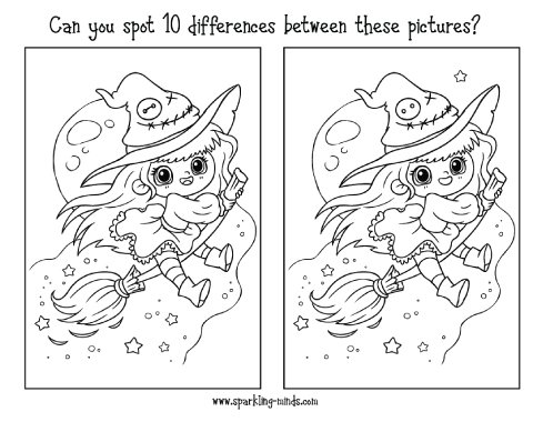 CUTE WITCH HALLOWEEN spot the difference game