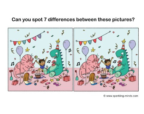 dinosaur birthday party spot the difference printable game