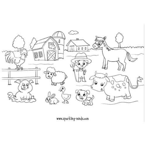 farm animals coloring page for kids